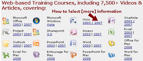 Selecting More Micorsoft Office Course Information
