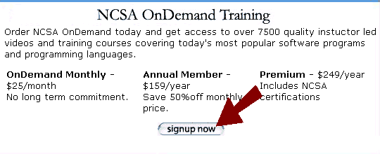 NCSA microsoft office academy courses